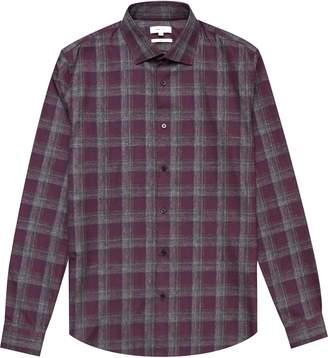 Reiss Amarvi - Soft Cotton Check Shirt in Bordeaux