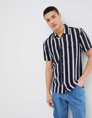 Bellfield Short Sleeve Shirt With Vertical Stripe