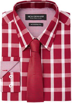 Nick Graham Men's Fitted Graph Buffalo Check Dress Shirt & Textured Geo Tie Set
