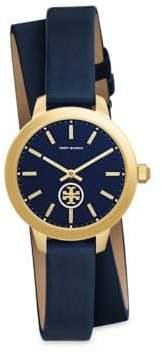Tory Burch Collins Goldtone Leather Strap Wrap Watch