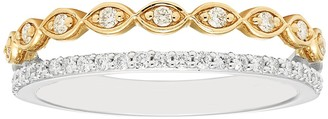 Boston Bay Diamonds Two Tone 14k Gold 1/4 Carat T.W. Diamond Marquise Stack Ring