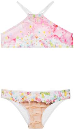 Pilyq Ice Cream Sequin Embroidered Two-Piece Swimsuit