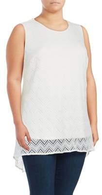 Vince Camuto Plus Plus Mesh-Overlay Top