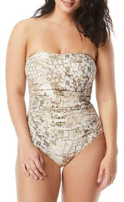 b2ce4f819cbe9 CoCo Reef Coco Contours by Embellished Printed Bandeau One-Piece Swimsuit