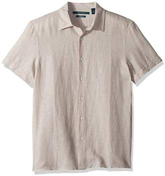Perry Ellis Men's Short Sleeve Solid Linen Cotton Shirt