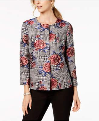 Alfani Petite Mixed-Print Jacket