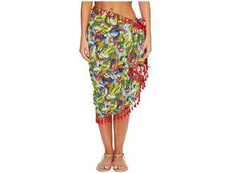 San Diego Hat Company BSS1806 Woven Bird Print Sarong Cover-Up