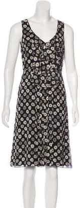 Tory Burch Geometric Print Silk Knee-Length Dress
