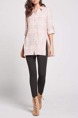 BCBGeneration Plaid Button Up Tunic