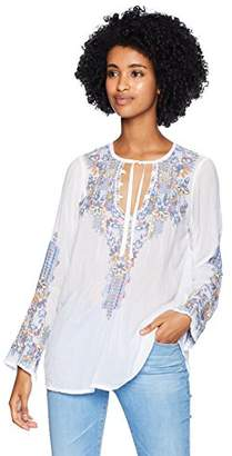Johnny Was Women's Rayon Tie Neck Long Sleeve Embroidered Blouse