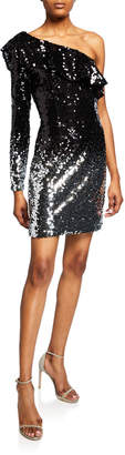 Laundry by Shelli Segal One-Shoulder Ombre Sequin Dress