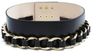 Balmain Chain Embellished Leather Waist Belt - Womens - Gold