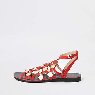 River Island Red caged stud embellished sandals