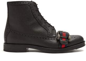 Gucci Web-strapped leather boots