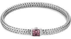 John Hardy Chain Lava Silver& Pink Spinel Bracelet