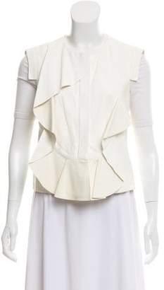 Oscar de la Renta Ruffle-Accented Leather Vest
