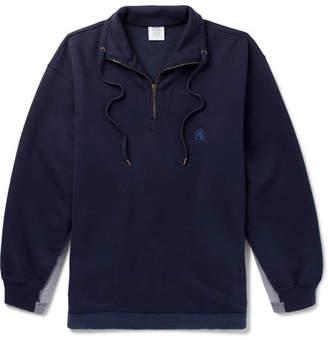 Vetements Oversized Panelled Fleece-Back Cotton-Blend Jersey Half-Zip Sweatshirt