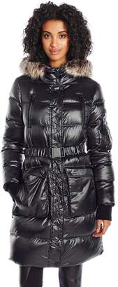 BCBGeneration Women's Puffer with Cinch Waist and Faux Fur Hood