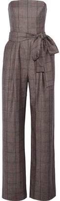 Carolina Herrera Strapless Checked Wool Jumpsuit