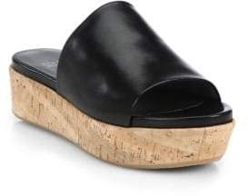 Stuart Weitzman Flat-out Leather & Cork Flatform Slides