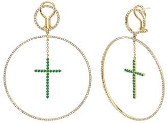 SHAY Emerald Cross Forward-Facing Hoop Drop Earrings - Yellow Gold
