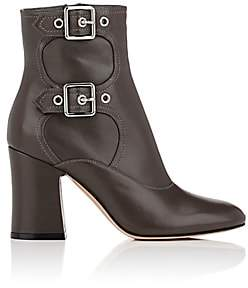 Gianvito Rossi Women's Double-Buckle Leather Ankle Boots - Dark Grey