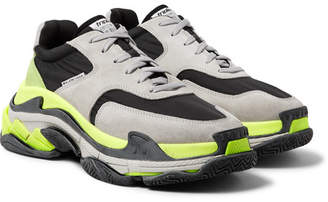 Balenciaga Triple S Nylon, Suede And Leather Sneakers - Light gray