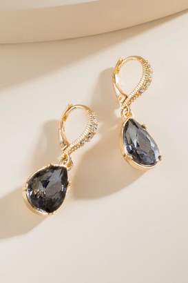 francesca's Rachel Faceted Crystal Drop Earrings - Black