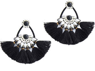 Vineyard Vines Black & White Beaded Tassel Earrings