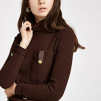 River Island Womens Brown pocket trim turtle neck top