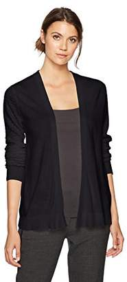 Sag Harbor Women's Long Stitch On Sleeves Open Front Cardigan