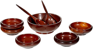 One Kings Lane Vintage Wood Salad Bowl Serving Set - Set of 8 - 2-b-Modern