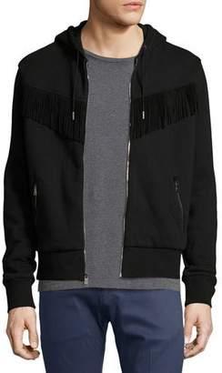 Ralph Lauren Western Zip-Front Hoodie with Suede Fringe, Black