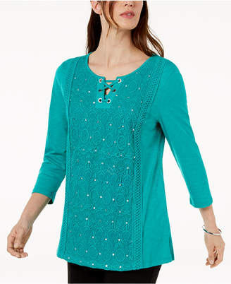 JM Collection Cotton Lace-Up Crochet-Inset Top, Created for Macy's