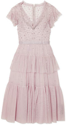 Needle & Thread Mirage Tiered Embellished Tulle Dress - Lilac