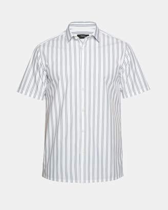 Theory Cotton Blend Striped Short-Sleeve Shirt