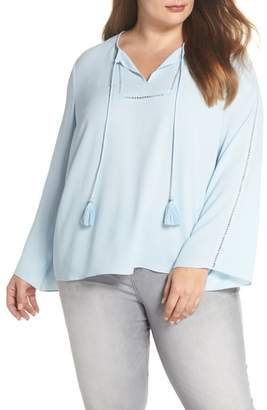 Vince Camuto Bell Sleeve Ladder Stitch Top