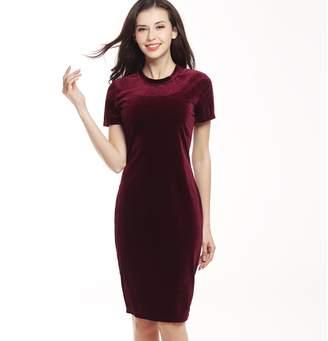 Yang Yao Summer Swan Gold Velvet Round Neck Short Sleeve Dress Pencil Skirt