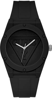 GUESS Unisex Iconic Logo Black Silicone Strap Watch 42mm