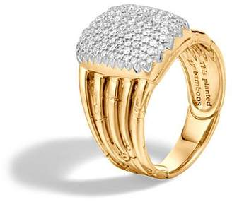 John Hardy Bamboo 18K Yellow Gold Diamond Pavé Five Row Ring