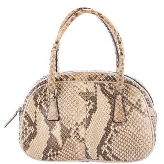 prada Prada Mini Snakeskin Dome Bag