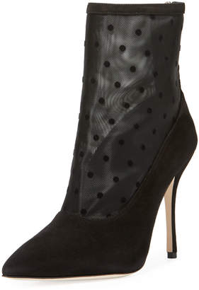 Manolo Blahnik Bricmin Polka-Dot Mesh Point-Toe Booties