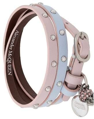 Alexander McQueen double-wrap embellished bracelet