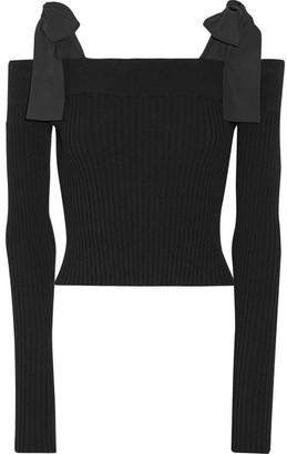 Off-the-shoulder Poplin-trimmed Ribbed-knit Sweater - Black
