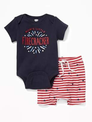 """Old Navy """"Mom'S Little Firecracker"""" Bodysuit & Shorts Set For Baby"""