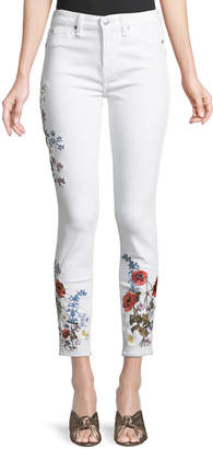 7 For All Mankind Floral Embroidered Ankle Skinny Jeans