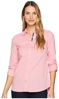 U.S. Polo Assn. Eyelet Woven Shirt Women's Clothing