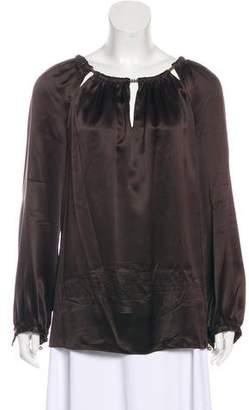 Magaschoni Silk Long-Sleeve Blouse