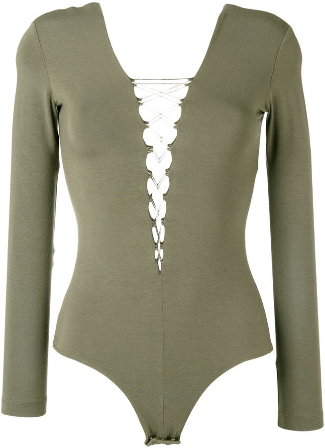 Alexander Wang T By Alexander Wang lace-front long sleeve bodysuit