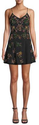 Nicole Miller Beaded Silk Mini Dress